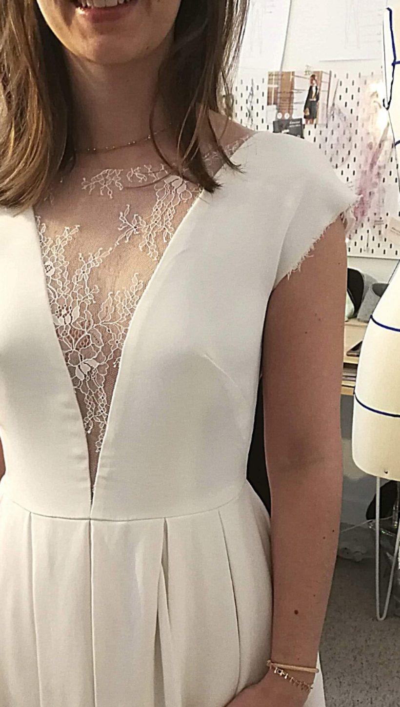 Robe civile robe de mariée sur-mesure bordeaux Douces Mesures